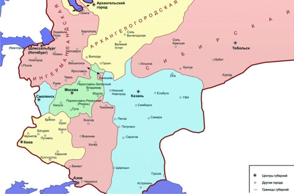 мапа губернії московського царства
