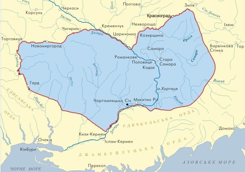 мапа запорізька січ